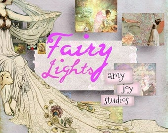 Fairy Lights  Fairy Journal kit - ephemera pack - printable collage papers, journal tags, fairy theme, diy junk journal