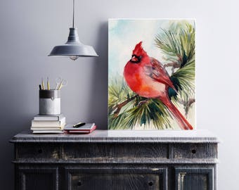Northern Cardinal Bird Art Print, watercolor painting print of bird, red cardinal male bird, bird art, giclee print