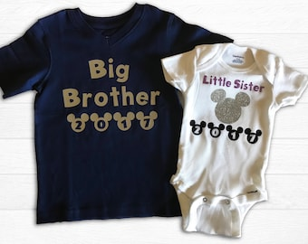 Big Brother and Little Sister Disney Land Vacation Matching T-Shirts - Personalized brother and Sister outfits. Vacation Shirts
