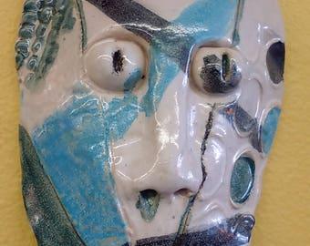 Hand Made Ceramic TIKI Mask Wall Hanging