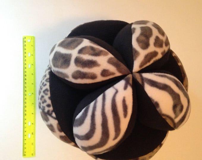 Animal Print Fleece Montessori Ball Sensory Tactile Comfort Ball Giant Cuddly Sqeezable Calming Montessori Ball. Geometric Comfort Ball