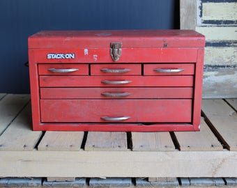 Large Red Metal Toolbox, Red Toolbox, Red Metal Tool Box, Stack-On Mechanic's Box, Large Metal Toolbox with Drawers, Tool Cabinet