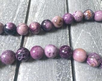 Full Strand Natural Russian Charoite 14MM Round Beads