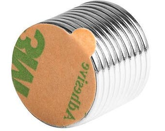 3/4 x 1/16 Inch Neodymium Rare Earth Disc Magnets N48 with 3M Self-Adhesive (10 Pack)