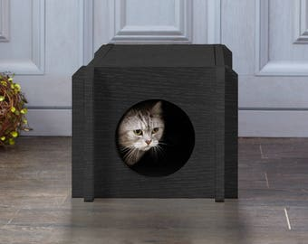 Eco Friendly Cat House Condo - Black Wood Grain Cat Furniture (PET-HOUSE-BK)