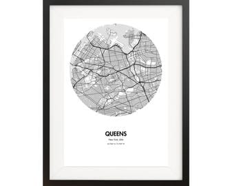 Queens Map Poster - 18 by 24 inch Map Print