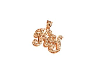 NP06cz-14K Gold Two Initial Name Necklace with Cubic Zirconia