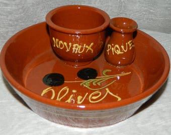 OLIVE dish. Vintage ceramic french Vintage 1970s kitchen