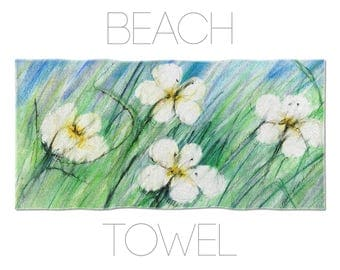 Flowers Beach Towel, Floral Towels, Flower Illustration, Pool Towels, Gift For Her, Womens Beach Towel, Girls Beach Towels