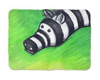 Zebra Warm Blanket, Illustration Art Blanket, Animal Lover Gift, Winter Gift, Thick Sherpa, Blanket For Kids, Bed Decor