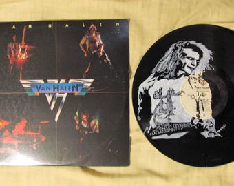 David Lee Roth Van Halen portrait on Van Halen vinyl record.