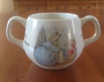 Wedgwood PETER RABBIT Beatrix Potter Child Two-handled Mug / Cup - Flopsy Mopsy Cotton-tail