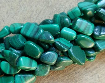 "Natural Malachite Nugget Beads 8x13mm x 8x13mm - 15.5"" Strand"