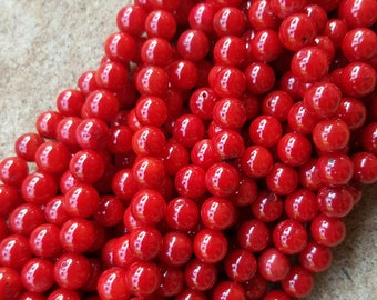 "Red Coral, Dyed Round 6mm Beads - 16"" Strand"