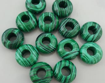 Natural Malachite European Large Hole Charm Rondelle Beads, 7~8x13~14mm - Select 4 or 10 Beads