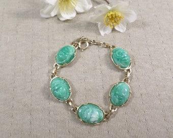 Beautiful Vintage Gold Tone Green Molded Lucite Link Bracelet  DL#3265