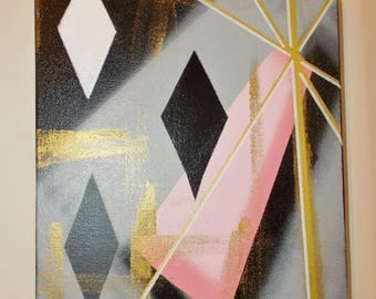 Atomic Era Mid Century Modern Shapes and Colors 'Sparkle' Pink Monochrome Metallic Gold