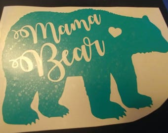 Mama Bear Decal with Heart | Vinyl Decal | YETI | Car Decal | Window Decal | Phone Decal | Customizeable!