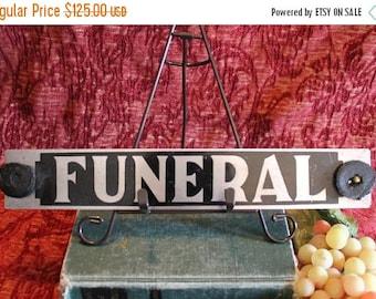 SALE Vintage Hearse Window Sign - Funeral, Metal, Hand Painted