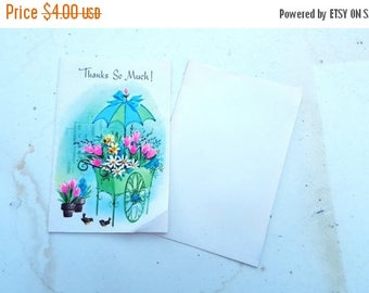 SALE 25% OFF 1950s Thank Card by Gibson, Vintage Thank You Card, 50s Ephemera, Scrapebooking, Vintage Card with Flower Cart and Birds