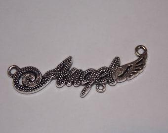 """angel"" metal charm Silver 3 connectors"