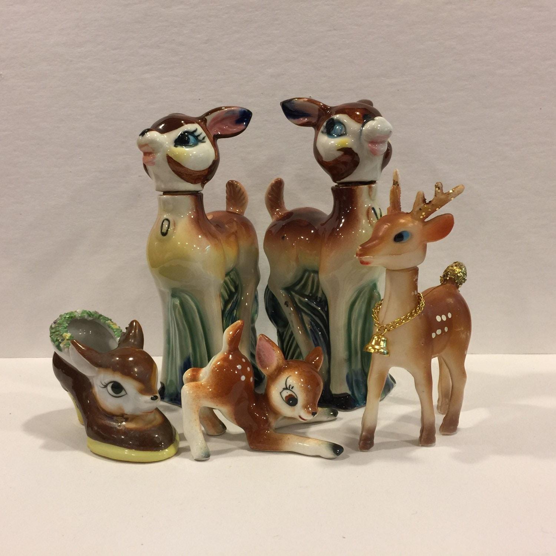 Vintage Deer Fawn Head Planter Tiny Deer Figurine Bambi