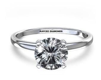 SALE!! 0.35 Carat G VS2 Premium Quality Ideal Cut Round Brilliant Genuine Diamond Solitaire Engagement Ring