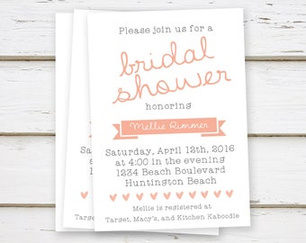 PRINTED Blush Bridal Shower Invitations, Simple, Coral, Peach, Plain, Spring, Summer, Brunch, Bubbly, Girly, White, Hearts, MB035