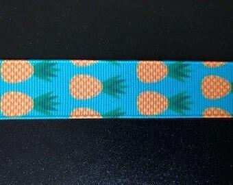 """7/8"""" Blue Pineapple Inspired Grosgrain Ribbon"""
