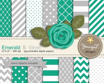 50% OFF Emerald Green and Silver Digital Paper,  Gray Green Rose Flower Clipart for Wedding, Bridal Baby Shower, Birthday, Digital Scrapbook