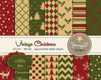 50% OFF Vintage Christmas Digital Papers, Christmas Tree Papers, Traditional Christmas Papers, Holiday Digital Scrapbooking Paper,