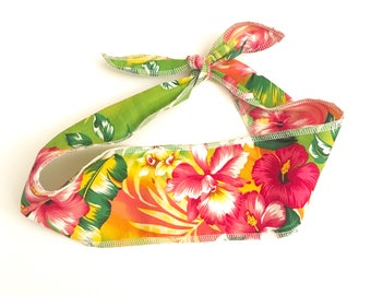Tropical floral rockabilly hair wrap