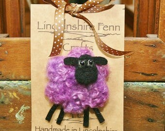 Sheep Brooch - Sheep pin - Felt sheep brooch - Purple sheep brooch - needle felted sheep - gift for her