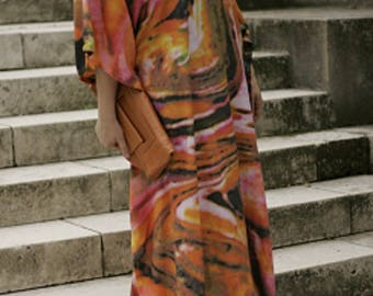 Plus Size Funky Summer Abstract Print Ethnic One Size Dashiki Kaftan Maxi Dress Orange Size 16 - 32