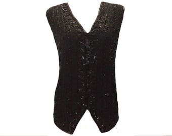 40's vintage inspired sequined beaded evening v-neck deco button down waistcoat