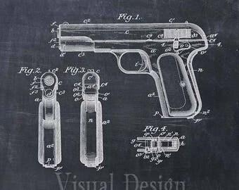 Handgun Patent Print Handgun Art Print Browning