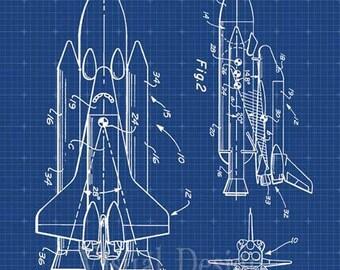 NASA Space Shuttle Patent Print Art