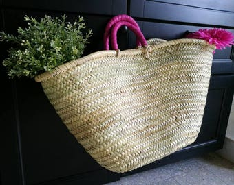 Woven basket with leaves of Palm Beach bag, Tote, Moroccan basket, pink leather