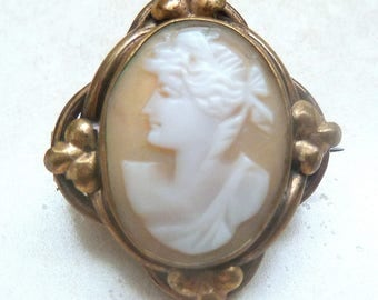 Antique Cameo, Victorian Brooch, Carved Shell Cameo Brooch.