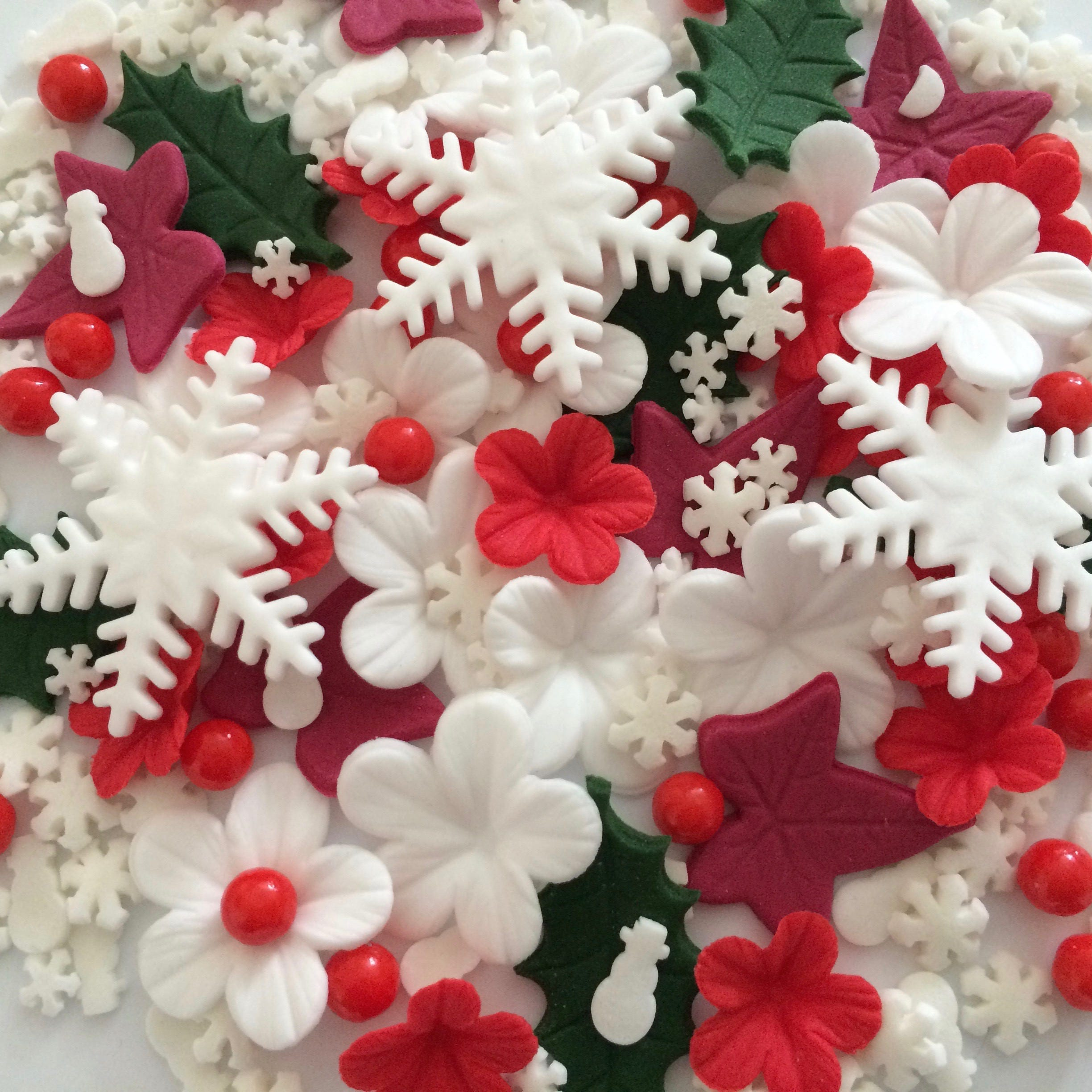Etsy Christmas Cake Decorations : CHRISTMAS CAKE DECORATIONS edible sugar paste flowers cake ...