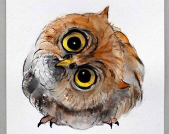 Owl Bird Painting Owl Watercolor Painting Original Animal Wall Art 7x7.5in