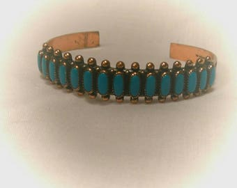 Vintage Copper and Turqoise Cuff Bracelt