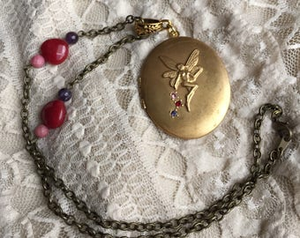 Dreams of the Fae Sparkling Large Fairy Brass Locket Mother's Day Valentine's Day