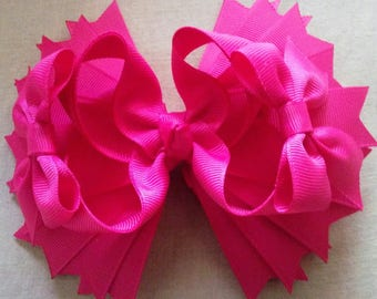 5 Inch Boutique Hairbow, Shocking Pink Hairbow, Girls Stacked Hairbow