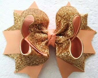 Gold Glitter Hairbow, Boutique Hairbow, Girls Stacked Hairbow