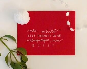 Custom Hand-Lettered HOLIDAY Envelopes - Set of 25
