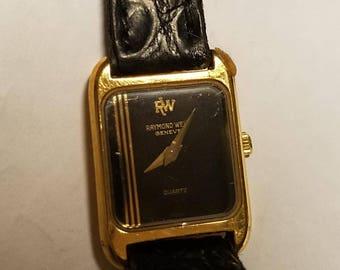 Vintage Raymond Weil Tank Watch 18K Electroplated Geneve Swiss Women's Slim Classic