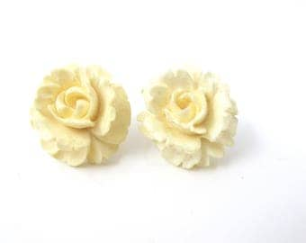 Winard Carved Rose Earrings, 12K Gold Filled Screw Backs, Wedding Bridal White Carved Flower Earrings, Winard Jewelry