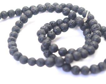 10 4mm black lava rock beads