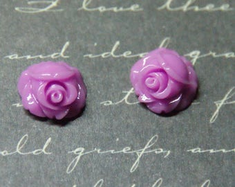 3 purple rose appliques resin 6x11mm
